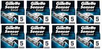 NEW Gillette Sensor Excel Refill Razor Blades - 40 Cartridges (8 x 5 Packs)