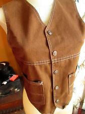 Small True Vtg 70s Womens Western Hippy Brown Denim Vest Snap Button Top
