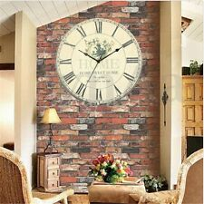 Large Vintage Rustic Floral Rural Shabby Wall Clock for Home Room Kitchen Office