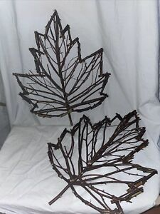 """Leaf Wall Decor (set Of 2) Leaves Made Of Sticks Twigs 18"""" Tall - Autumn Rustic"""