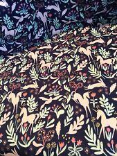 Michael Miller Magic Fabric 1 1/2 Yd Navy Blue Unicorn Bunny Quilting Cotton F19