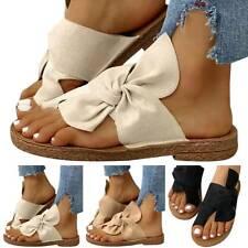 Damen Bowknot Sandaletten Flache Pantoletten Sandalen Zehentrenner Sommerschuhe