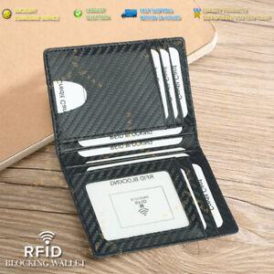 RFID Blocking Purse Flip Leather Wallet Slim Credit Card Holder Mens Money Clip