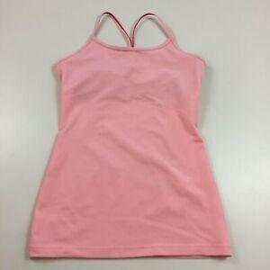 IVIVVA by Lululemon Girls sz 10 Pink Beige Lined Shelf Bra Racerback Tank Top