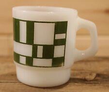 Fire King Anchor Hocking Vintage Milk Glass Coffee Mug Green Block Pattern +