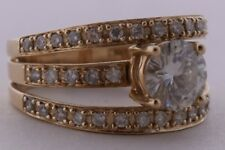 Large 14K solid Yellow gold & diamonds cluster fine 3 row ring ornate setting