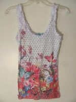 H.I.P Women's Shirt Tank Top Size Small S White Floral Polka Dot Sleeveless