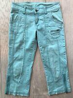 Prana Capri Cropped Jean Pant Turquoise Blue Stretch Ankle Zipper Size 4