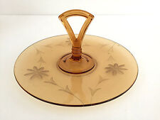 Amber cut glass sandwich tray with flower etching