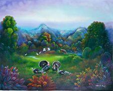 HAITIAN FOLK ART PAINTING GEORGES WINSCOL LANDSCAPE BIRDS HORSES MOUNTAINS HAITI
