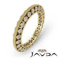 Round Diamond Womens Milgrain Eternity Wedding Ring Band 14k Yellow Gold 0.59Ct