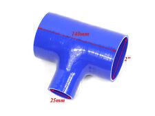 """Azul silicona pieza en T 2"""" 51mm 25mm golpe Válvula de documento de identidad BOV Intercooler Tubo"""