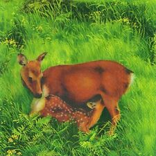 Deer family fawn red cream luxury napkins serviettes 20 in pack 3 ply