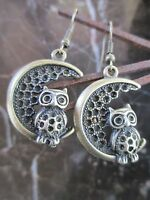 Bronze LARGE Owl on Crescent Moon Handcrafted Artisan Earrings-Wicca Pagan