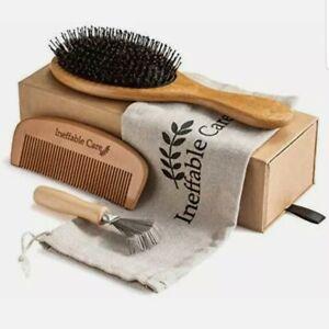 Boar Bristle Hair Brush Set for Women & Men Wooden Comb & Detangling Hair New
