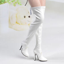 """1/6 Scale White Over knee Long Boots High-heeled Shoe F 12"""" Phicen Verycool Body"""