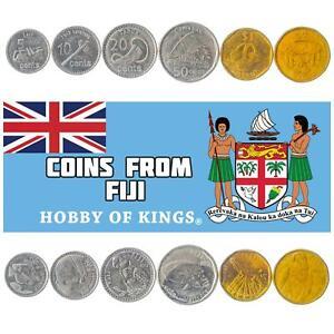 6 COINS FROM FIJI: 5, 10, 20, 50 CENTS, 1, 2 DOLLARS. FIJIAN MONEY 2012-2017