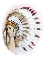 Indianer Kopfschmuck Federhaube echte Federn WEISS rot-schwarze Spitzen Fasching