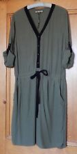 Collectable Vintage Style Green Biba Dress Size 14 Drop Waisted