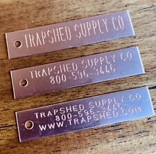Custom Engraved Copper Trap Tags Trapping Supplies Animal Trap Id Trapping