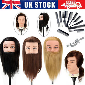 """12-14""""Cutting Men's Hairdressing Training Male Head Mannequin Doll&Hair Comb Set"""