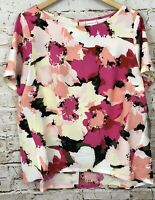 Ava Viv blouse shirt top womens 1X pullover floral short slv new 16W/18W pink B3