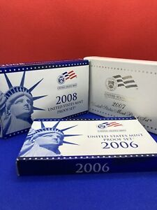 2006-S, 2007-S, 2008-S Mint Proof Sets In Original Box With COA