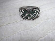 Emerald Cage Ring Sterling Silver Natural