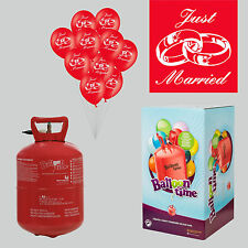 Helium Ballongas Set mit 30 Hochzeit Luftballons Just Married Bänder rot Ballons