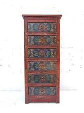 Tibet schlanke Schubladen Kommode Kredenz schwarzrot Pinie