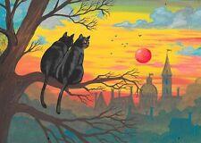 ACEO PRINT OF PAINTING RYTA BLACK TUXEDO CAT LANDSCAPE CITYSCAPE ROMANITIC LOVE