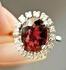 3.20TCW Berry Pink Tourmaline Diamond Halo 14k white gold ring