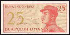 1964 indonésie 25 sen billet * xew 083326 * unc * P-93a *