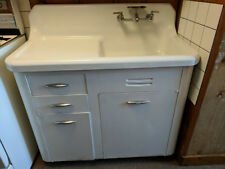 """40s VINTAGE 41"""" Cast Iron Sink, Drainboard & Metal Cabinet by Richmond VERY GOOD"""