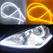 2x 30cm Flexible Tube Car LED Strip DRL Turn Signal Light White Amber DC 12V