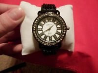 Black & White Austrian Crystal Japanese Movement Watch w/Black Leather Band