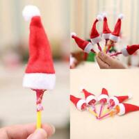 10* Mini Santa Claus Christmas Hats Party Xmas Holiday Decor Lollipop 2019H A4C2