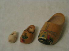 3 Holland souvenir small wooden shoes wood shoe clog miniature carving carved