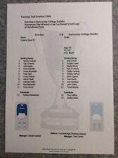 1984-85 Cup Winners Cup 1st Rnd Everton v UCD Matchsheet