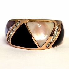 14k rose gold diamond onyx mother of pearl ring 9.5g womens vintage ladies