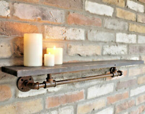 Industrial Pipe Shelf Wooden Wall Mount Display Shelving Floating Storage Retro