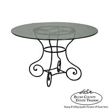 "Custom Wrought Iron Base 48"" Round Glass Top Dining Table"
