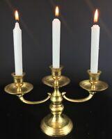 Chandelier bougeoir à trois branches laiton doré - vintage de style ancien -