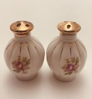 Vintage Salt & Pepper Shakers Porcelain Pink Floral Hand Painted Gold Top-Japan