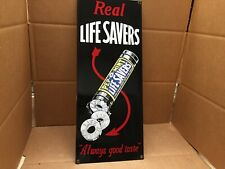 "HEAVY ENAMELED PORCELAIN SIGN LIFE REAL SAVERS GOOD TASTE ANDE ROONEY 17"" X 7"""