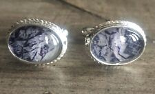 Rare Derbyshire Blue John Solid Silver Rope Edge Cufflinks J2162