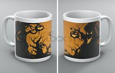 Halloween Mug Spooky Forest Bats Spiders Crows Ghosts Trees Pumpkin Coffee Gift