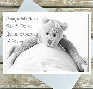 PERSONALISED PARENTS TO BE CARD EXPECTING A BABY CONGRATULATIONS TEDDY