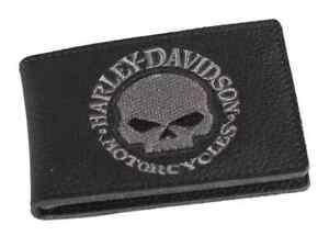 Harley-Davidson Men's Embroidered Willie G Skull Duo-Fold Wallet, XML6136-GRYBLK