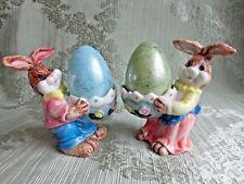 Man Woman Bunny Rabbit - Egg Holders - Porcelain - Easter Decor